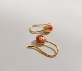 """Ohrhänger """"Blume""""  in Silber 925 vergoldet mit Koralle"""