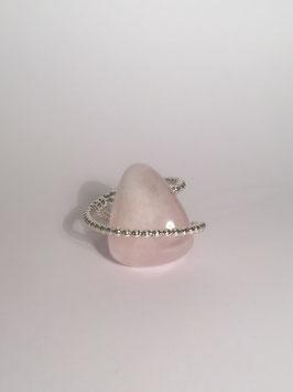 Rosenquarz Ring in Silber 925