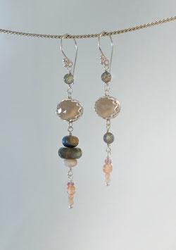Ohrhänger in Silber 925 mit Chalcedon, Mondsteine, Labradorit, Opal und Saphir