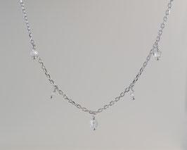 feine Ankerkette diamantiert in Silber 925 mit feinen Bergkristall Anhängern