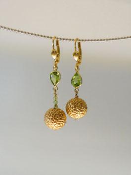 """""""Samen"""" Ohrhänger in Silber 925 vergoldet mit Peridot"""