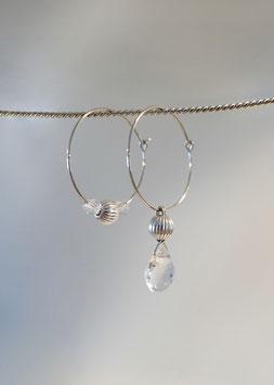 Feine Kreolen in Silber 925 mit Bergkristall