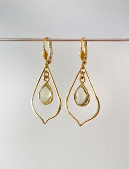 Ohrringe in Sterlingsilber vergoldet mit einem Citrintropfen