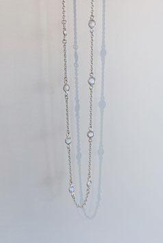 """Ankerkette in Silber 925 mit gefassten Regenbogen - Mondsteinen für die """"loop"""" Systeme"""