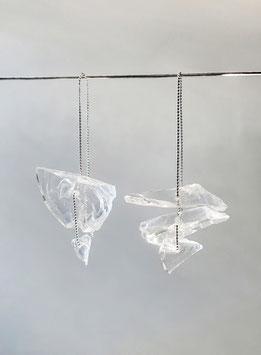 asymmetische Ohrhänger in Silber 925 fünf Glassplitter