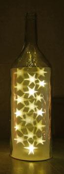 Glas-Flasche klar mit 18 LED Sternenlicht und 6 Std. Timer (6 ein / 18 aus)