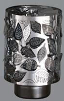 Windlicht-Karussell  Becher Metall-silberfarbig Blatt
