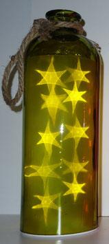Glas-Flasche grün mit 10 LED Sternenlicht und 6 Std. Timer (6 ein / 18 aus)