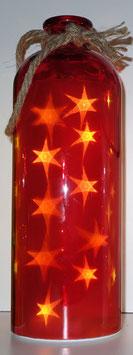 Glas-Flasche rot mit 10 LED Sternenlicht und 6 Std. Timer (6 ein / 18 aus)