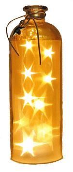 Glas-Flasche gold mit 10 LED Sternenlicht und 6 Std. Timer (6 ein / 18 aus)