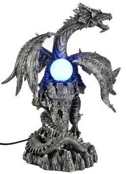 Drachenlampe schwarz-silber mit farbigem Licht