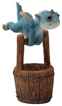 Drache blau fliegt auf Bottich