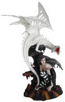 Elfe schwarz mit Drachen weiss