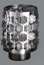 Windlicht-Karussell Becher Metall-silberfarbig Schneeflocke