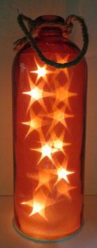 Glas-Flasche rot mit 12 LED Sternenlicht und 6 Std. Timer (6 ein / 18 aus)