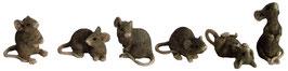 Mäuse grau-braun 6ass.