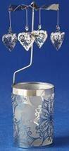 Windlicht-Karussell Metall-silberfarbig Herz