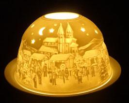 Porzellan - Windlicht Weihnachtsmarkt