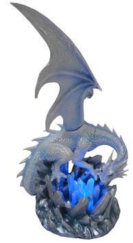 Eis-Drache blau-weiss mit LED Licht