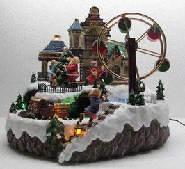 Winterszene mit Riesenrad und Zug