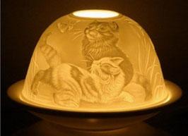 Porzellan - Windlicht Katzen