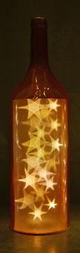 Glas-Flasche orange mit 18 LED Sternenlicht und 6 Std. Timer (6 ein / 18 aus)