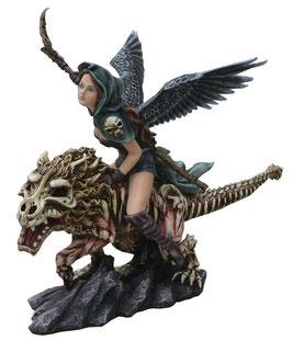 Gotik-Engel reitet auf Monster