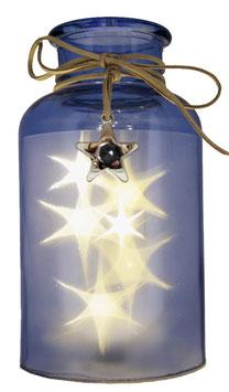 Glas-Flasche blau mit 6 LED Sternenlicht