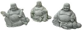 Buddha sitzend steinfarbig 3er Set