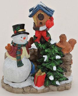 Miniatur Schneemann mit Baum