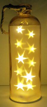 Glas-Flasche orange mit 10 LED Sternenlicht und 6 Std. Timer (6 ein 18 aus)