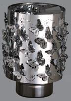 Windlicht-Karussell Becher Metall-silberfarbig Schmetterling
