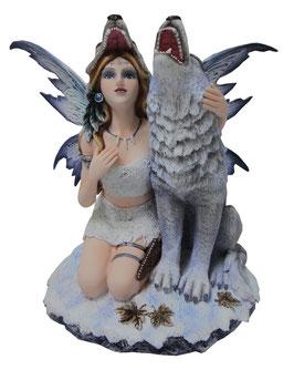 Elfe kniend mit Wolf