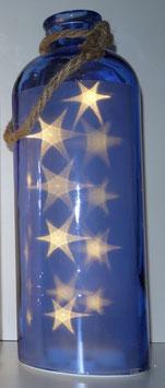 Glas-Flasche blau mit 10 LED Sternenlicht und 6 Std. Timer (6 ein / 18 aus)