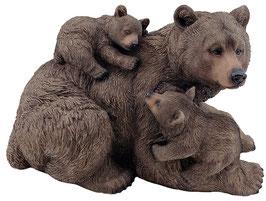 Bär mit zwei Jungen braun