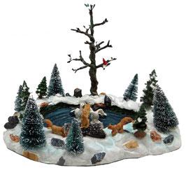 Miniatur Winterszene Waldteich