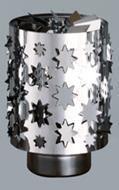 Windlicht-Karussell Becher Metall-silberfarbig Stern