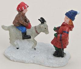 Miniatur Kinder mit Ziege