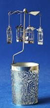 Windlicht-Karussell Metall-silberfarbig Vogelhüsli