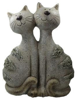 Gartenfigur-Katzenpaar