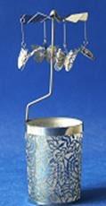 Windlicht-Karussell Metall-silberfarbig Schmetterling