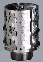 Windlicht-Karussell Becher Metall-silberfarbig Engel