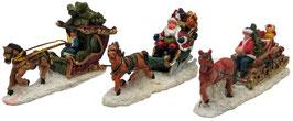 Miniatur Pferde-Schlitten 3ass.