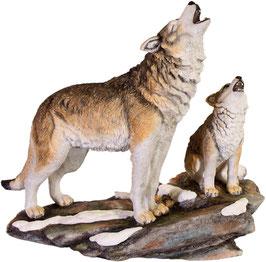Wolf mit Welpe heulend