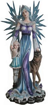 Elfe blau mit Kind und Wolf