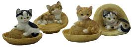 Katze mit Hut 4er Set