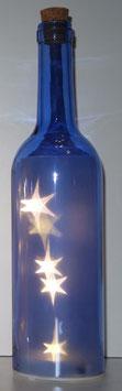 Glas-Flasche blau mit 5 LED Sternenlicht