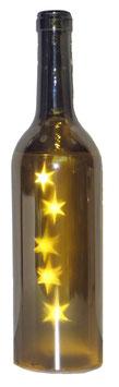 Glas-Flasche silber mit 5 LED Sternenlicht