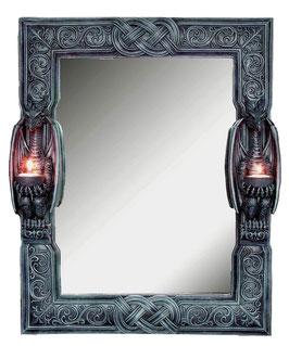Drache Wandspiegel mit 2er Teelichhalter schwarz