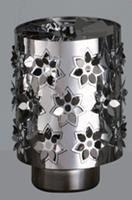 Windlicht-Karussell Becher Metall-silberfarbig Blume